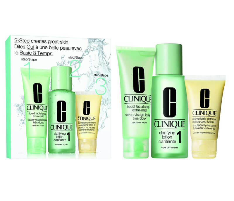 Clinique 3-Step Skin Care Intro Set, Skin Type 1 (180ml) i gruppen 3-Steg / Steg 3 - Återfukta hos Bangerhead (B010654)