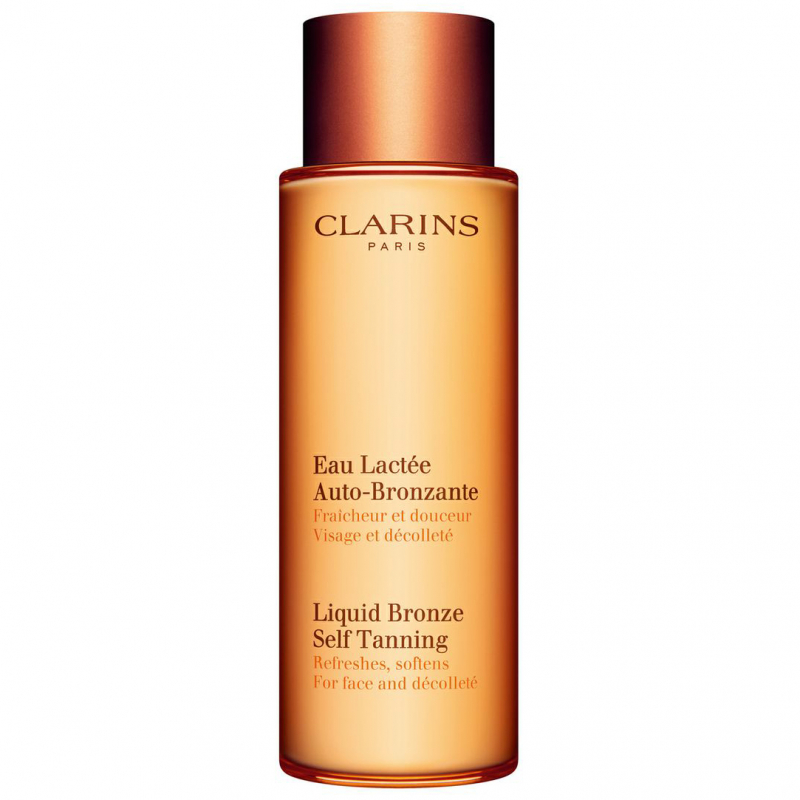 Clarins Liquid Bronze Self Tanning Face and Dekolletage (125ml) ryhmässä Ihonhoito / Aurinko & rusketus kasvoille / Itseruskettavat kasvoille at Bangerhead.fi (B027366)