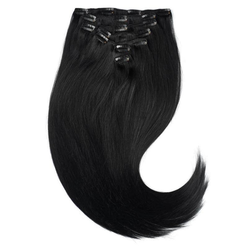Rapunzel #1 Svart Clip On-set Hair Extensions  ryhmässä Hiustenhoito / Hiustenpidennykset at Bangerhead.fi (B028721)