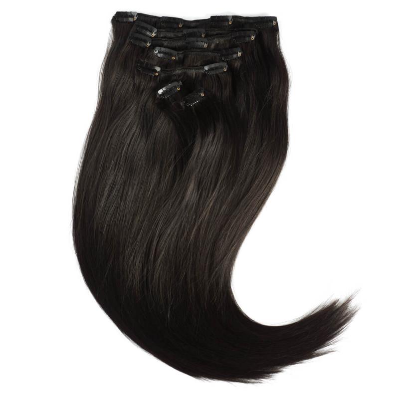 Rapunzel 1B Svartbrun Clip On-set Hair Extensions i gruppen Hårvård / Hårförlängning hos Bangerhead (B028725)