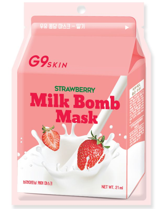 G9Skin Milk Bomb Mask Strawberry i gruppen Hudpleie / Ansiktsmaske / Sheet masks hos Bangerhead.no (B038995)