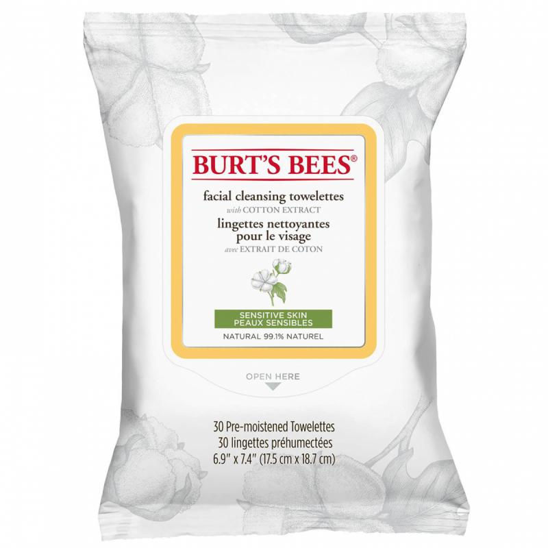 Burt's Bees Facial Cleansing Towelettes Sensitive i gruppen Hudpleie / Ansiktsrens / Rengjøringsservietter hos Bangerhead.no (B051577)