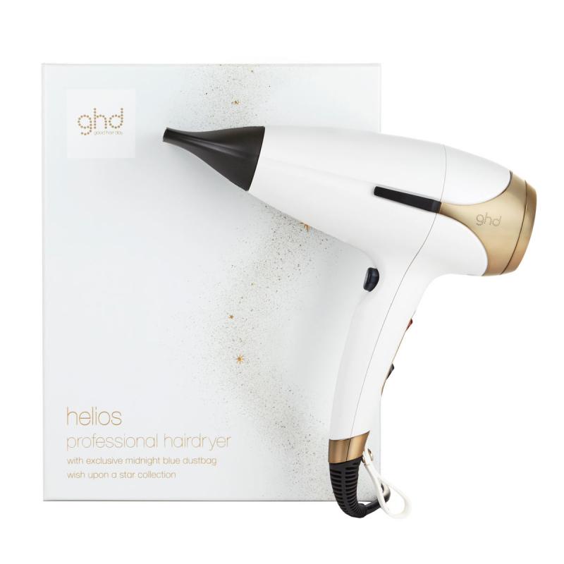 Ghd Helios White & Satin Gold Limited Edition Hair Dryer i gruppen Stylingverktyg / Hårfön hos Bangerhead (B062970)