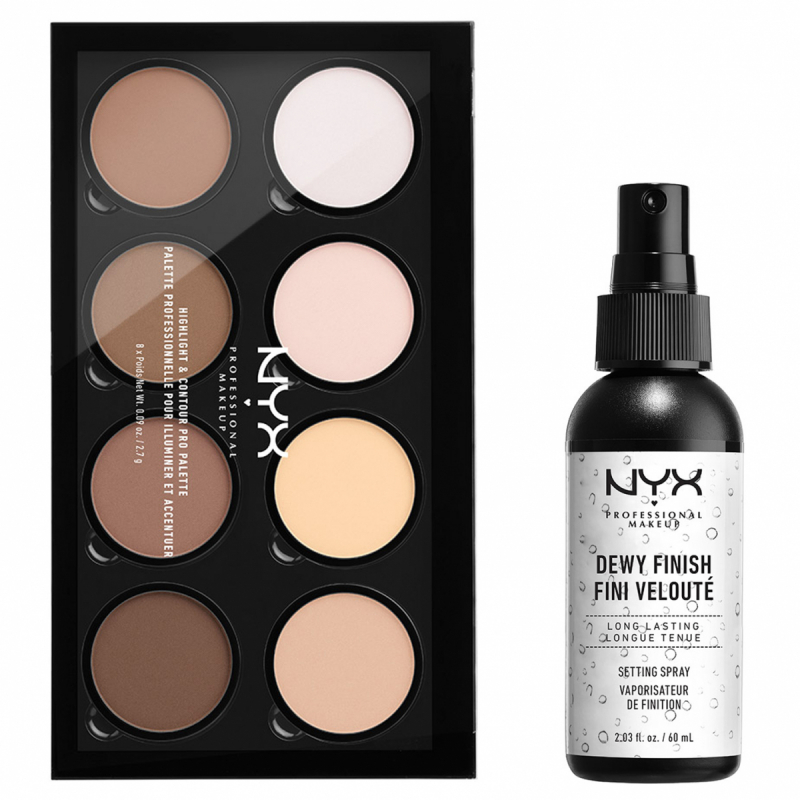 NYX Professional Makeup Highlight And Contour Pro Palette Dewy Set ryhmässä Kampanjat / Tarjouspaketit at Bangerhead.fi (SET00148)