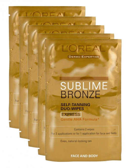 5x Loreal Sublime Bronze Double Wipes i gruppen Festival essentials hos Bangerhead.no (sB001318)
