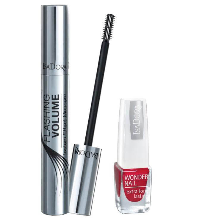 Isadora Flashing Volume Mascara + Mini Wonder Nail 182 Red i gruppen Makeup / Øyne / Maskara hos Bangerhead.no (sB008541)