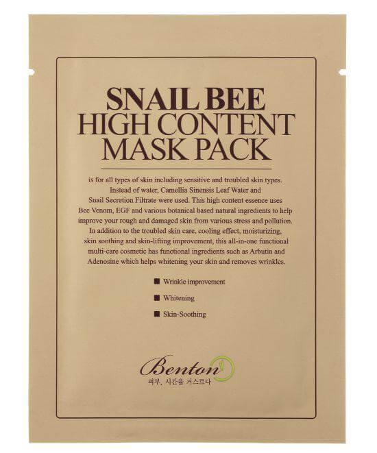 Benton Snail Bee High Content Mask (Pack 10-Pack) ryhmässä Ihonhoito / Kasvonaamiot / Kangasnaamiot at Bangerhead.fi (sB023516)